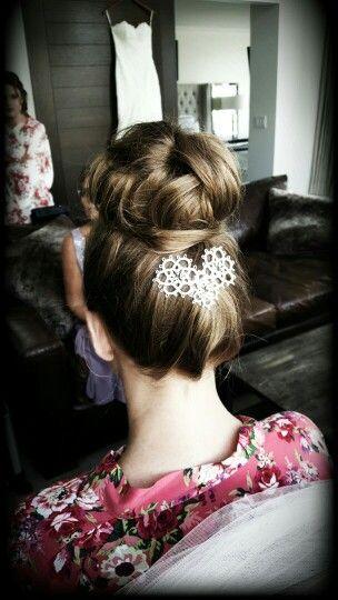 Top bun bridal hair. Loved the lace hair heart!