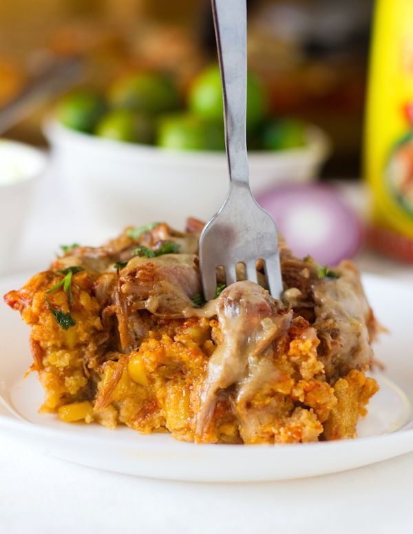 Carnitas Tamale Pie (this recipe calls for left over carnitas - you can replace with shredded chicken or beef and it will be just as yummy!)
