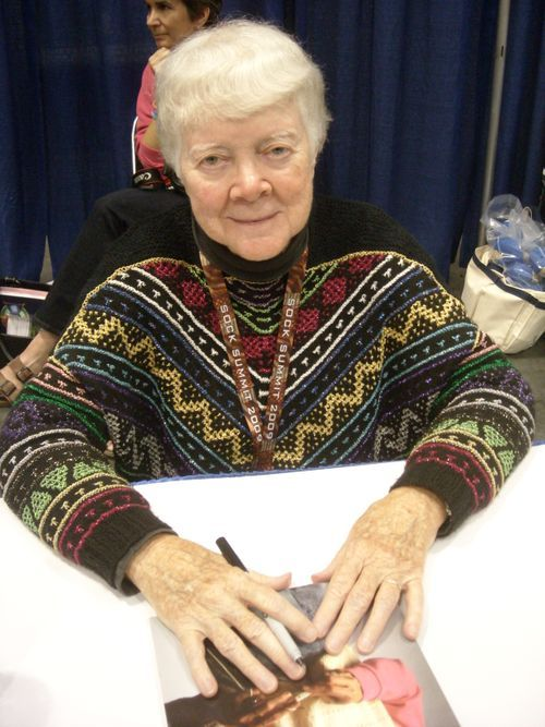 "Barbara Walker, knitting goddess. Apparently wearing one of her own ""mosaic"" patterns"