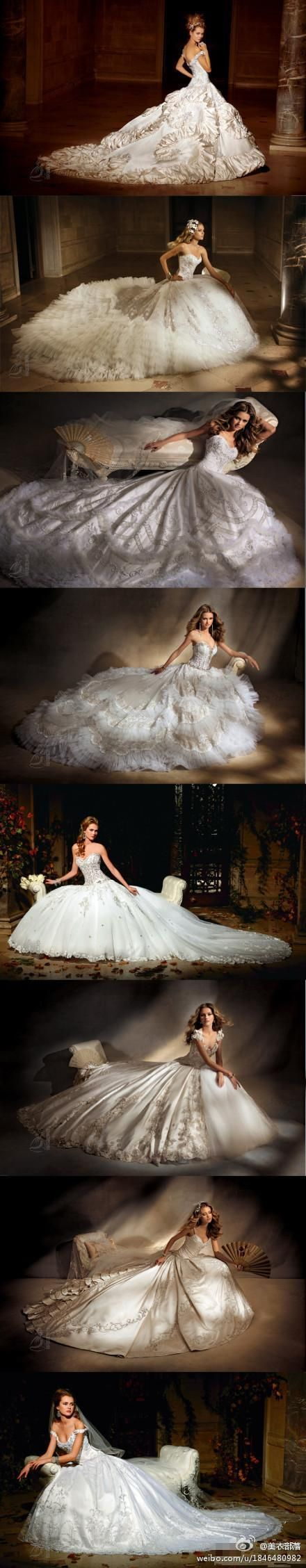 Def don't want a Cinderella gown when I get married... But these are gorgeous!