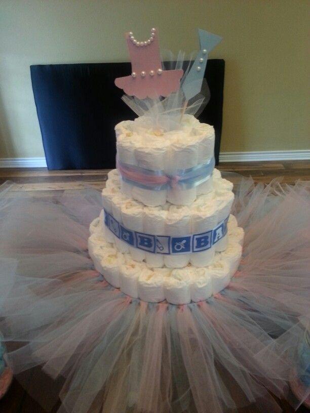 Gender Reveal Diaper Cake Ties Or Tutus Theme Parties