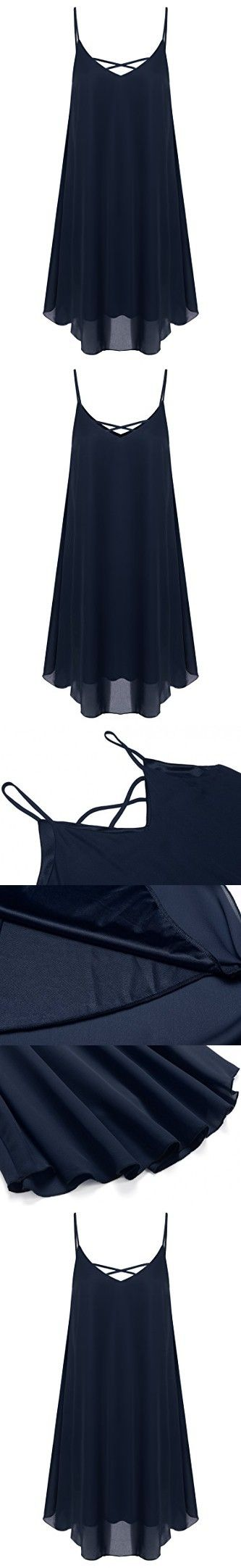 Zeagoo Women's Summer Spaghetti Strap Sundress Sleeveless Beach Dress Navy Blue X-Large