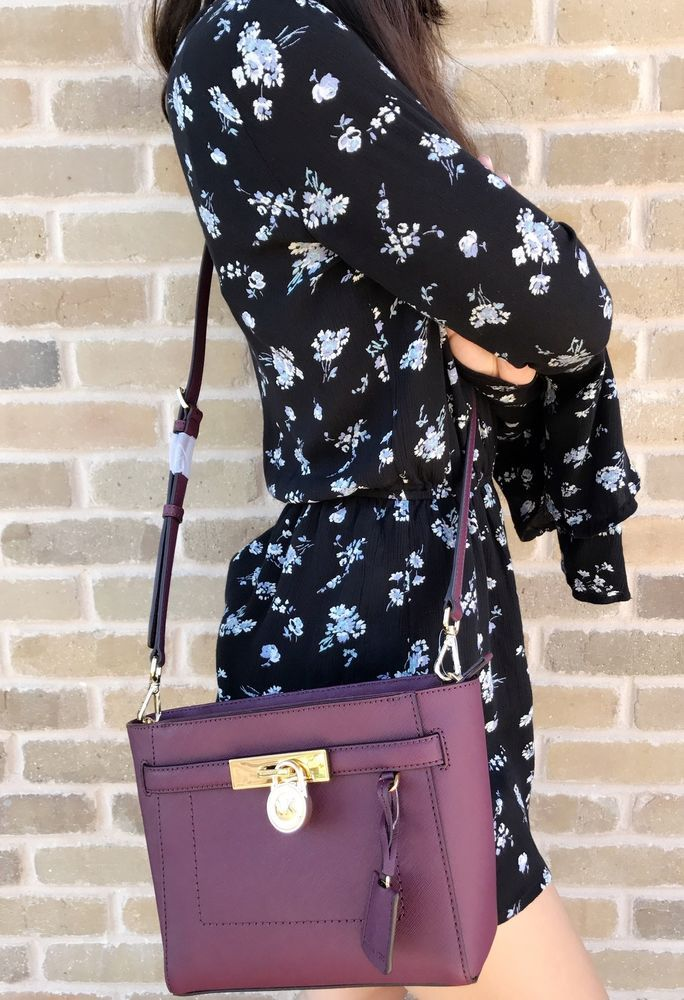f5ce92e255e7 NWT Michael Kors Hamilton Traveler Top Zip Small Crossbody Plum Purple # MichaelKors #Crossbody