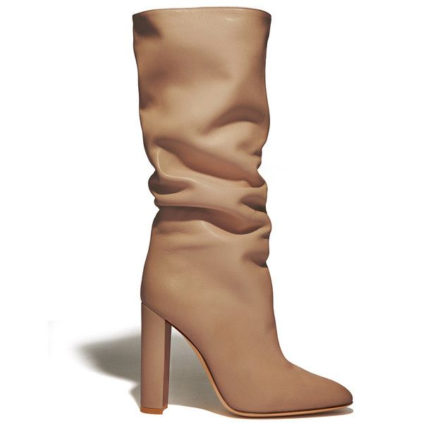 Gianvito Rossi Tan Slouchy Heel Boot ($1,625) ❤ liked on Polyvore featuring shoes, boots, tan, tan heeled boots, gianvito rossi, gianvito rossi shoes, tan shoes and tan slouch boots