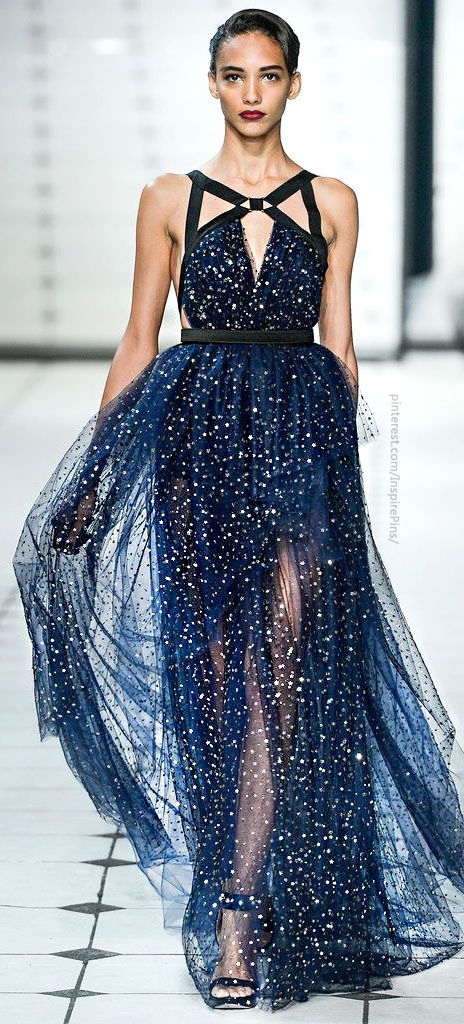 Jason Wu. Crazy for this starry, midnight blue fabric! But those harness straps…