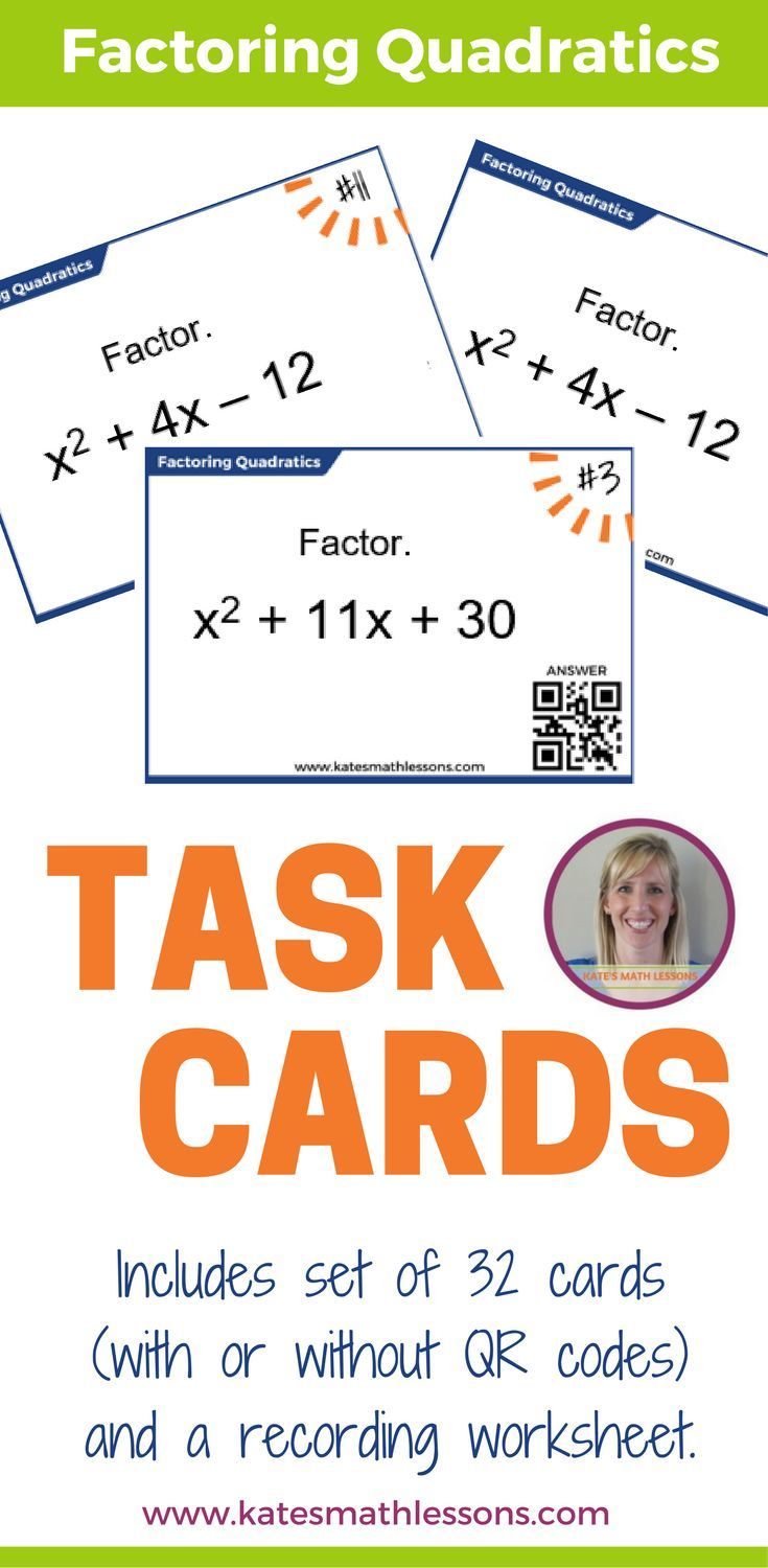 Check Out This Set Of 32 Task Cards On Factoring Quadratic Expressions You Can Print A Set With Qr Codes If You Wan Factoring Quadratics Quadratics Task Cards