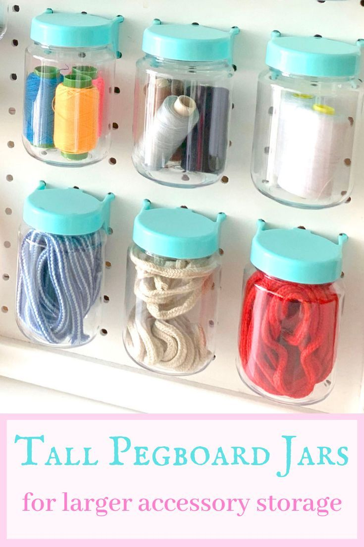 Tall Pegboard Accessories Organizer Storage Jars Large Size 2 X 4 Peg Board Attachments For Craft Sewing Garage Storage Set Of 6 Blue Pegboard Accessories Peg Board Pegboard Craft Room