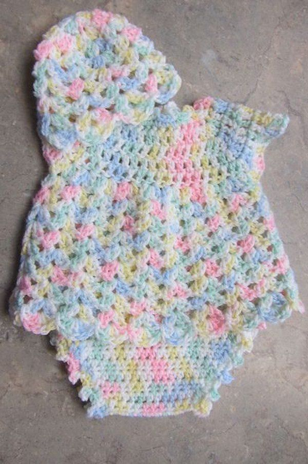 "Baby Dress Set. Size: 0-3 mos Materials Pink sport weight yarn White sport weight yarn ""I"" hook"