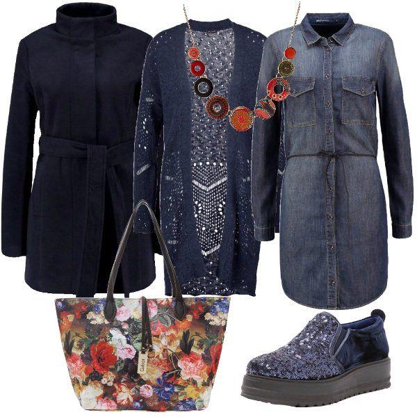Il+vestito+di+jeans+lavaggio+medio+richiama+le+impunture,+le+tasche+e+l'abbottonatura+delle+camicie+e+ha+una+coulisse+in+vita.+Si+abbina+al+cardigan+lungo+blu+di+maglia+traforata+e+al+cappotto+sempre+blu+con+il+collo+ad+anello+e+la+coulisse+in+vita.+Ai+piedi+sneakers+modello+slip+on+di+vernice+blu+e+la+parte+avanti+ricoperta+di+paillettes.+Per+finire+borsa+shopping+bag+stampata+a+fiori+colorati+e+collana+muticolor+per+staccare+il+tutto+blu.