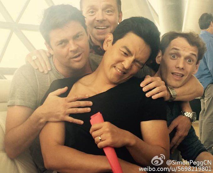 Biggest dorks in the universe. Love these four dorks. John Cho, Simon pegg, Karl urban, and Anton Yelchin.