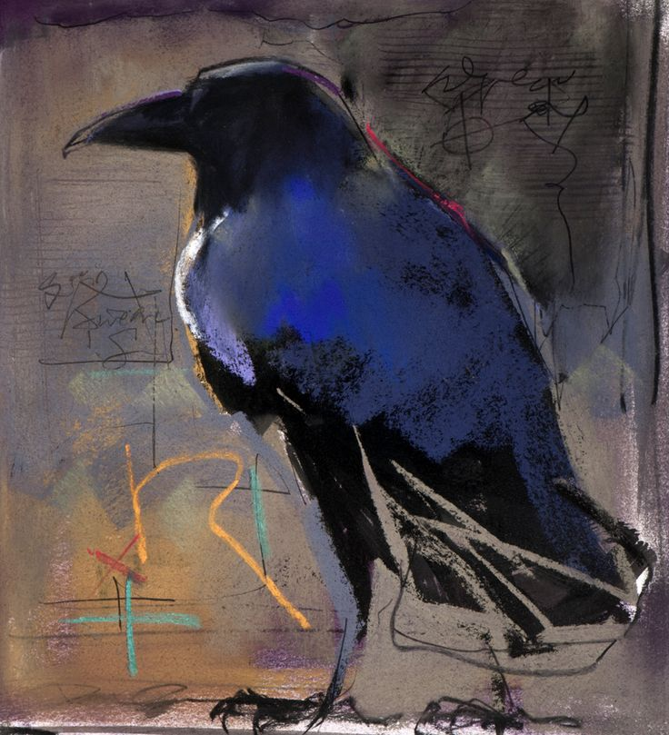 "Crow by Dawn Emerson...R"" is for Raven"" 12""h x 10""w mixed media SOLD"