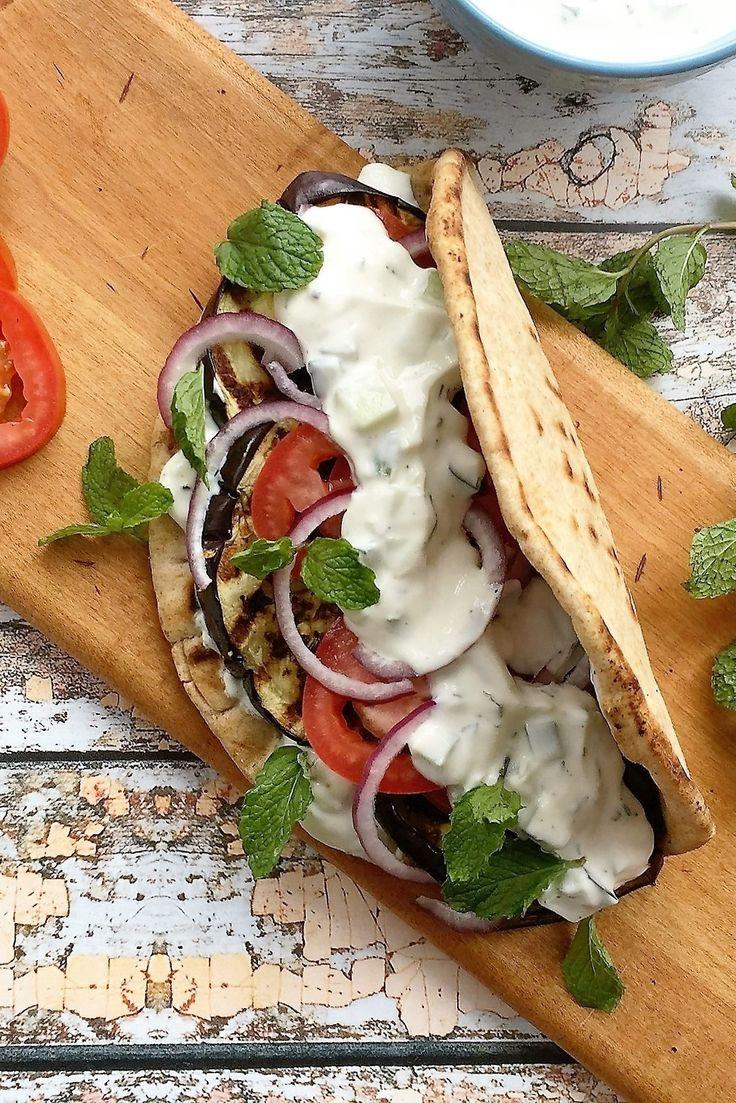 Grilled Eggplant Gyros with Fresh Tzatziki http://jackienewgent.com/2016/05/eggplant-gyros/ #tasteoversbyjackie #meatlessmonday