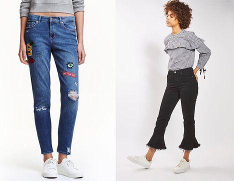 r. 2017 - Zkrácená délka je absolutní hit letošní sezony. Na foto (zleva): modré džíny H&M, 999 Kč, černé džíny Topshop, 1300 Kč; Archiv firem