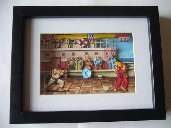 Street Fighter 2 3D Shadow Box Diorama Arcade arte SNES Super Nintendo