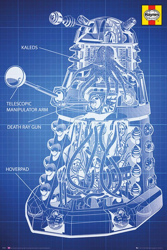 Doctor Who Haynes Dalek Blueprint Poster