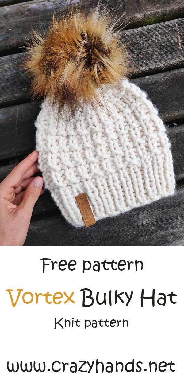 Free Knitting Pattern Vortex Bulky Knit Hat Pattern Knitting Patterns Hats Women Beanie Knitting Patterns Free Knitting Patterns Free Hats