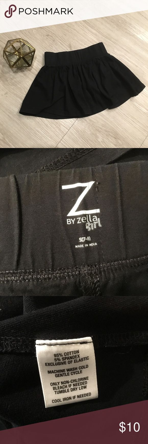"""Zella Girls Skort Flare Shorts Black Small 7 - 8 -Used condition w/ normal signs of wear.  Brand – Zella Size – Girls – Small 7-8 Material – 95% Cotton 5% Spandex Color – Black *faded*  Measurements taken while lying flat Waist – 10.25"""" Back t2b – 11.5"""" Zella Bottoms Skorts"""