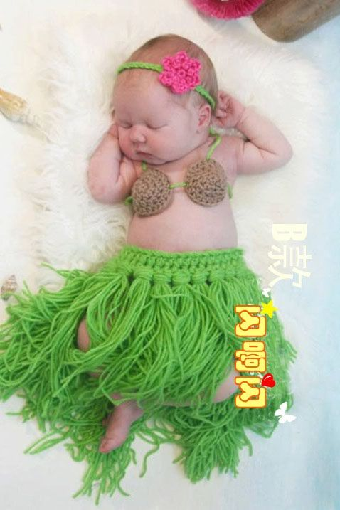 crochet newborn photography prop outfits crochet baby set baby hula girl headdress,coconut bra,grass skirt handmade US $17.49