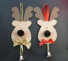'Rudolph'  Christmas Tree decorations.   Thin foam.  Black pom poms.  Gold cord.  Red ribbon Silver/gold bells.  Black pen.  Strong glue.