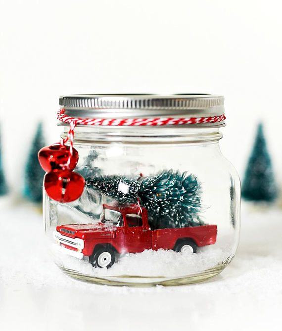 Vintage Car In A Mason Jar Snow Globe Kit Includes All Materials And Detailed Instructions Mason Jar Christmas Decorations Christmas Jars Christmas Mason Jars
