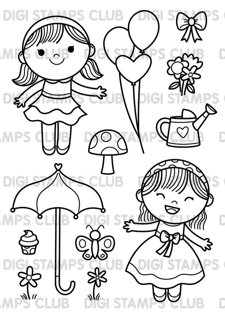 Cute girl digital stamps set for scrapbooking and card