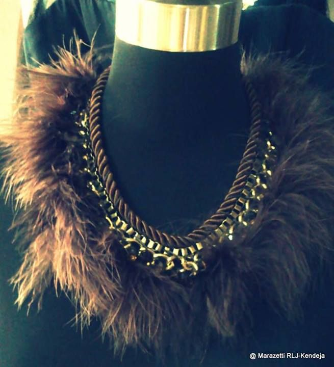 Marazetti Fur/Chain Accent Necklace