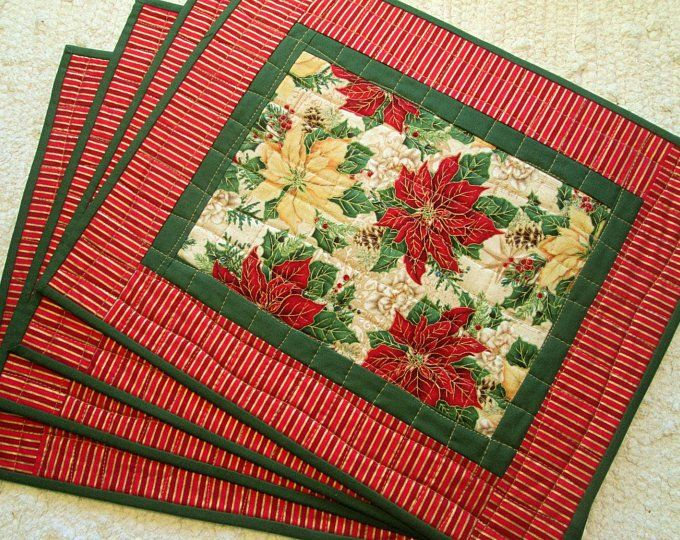 Etsy Your Place To Buy And Sell All Things Handmade Christmas Placemats Placemats Christmas Poinsettia