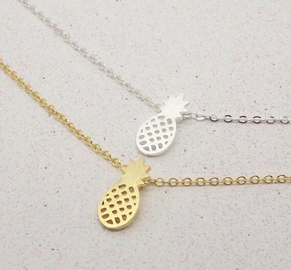 Delicate Pineapple Necklace, Dainty Jewelry, Fruit Necklace, Dainty Necklace, Gift Ideas, Tropical Necklace, Simple Necklace, Gifts by MissFitBoutiqueCA on Etsy https://www.etsy.com/ca/listing/576574673/delicate-pineapple-necklace-dainty