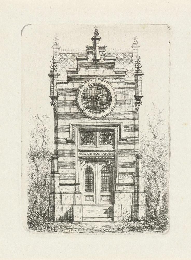 Cornelis Johan Laarman | Gotische gevel met rond venster, Cornelis Johan Laarman, 1854 - 1889 | Vooraanzicht van een gotisch huis met rond venster.