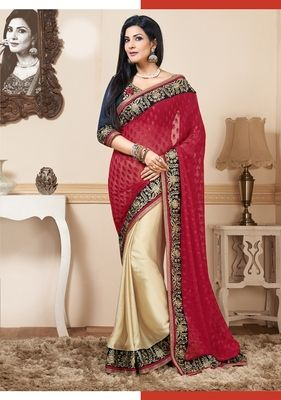 Red gold embroidered chiffon saree with blouse
