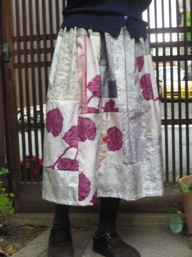 紬リメイク☆着物スカート☆初夏から夏のお出かけに優しく可愛く…73㎝丈 - 西垣洋子
