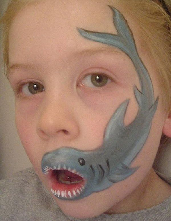 Shark, Cool Face Painting Ideas For Kids, http://hative.com/cool-face-painting-ideas-for-kids/,