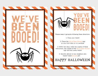 "Free printable ""You've been booed"" signs for neighbors' treats. {Grey Square Designs}"