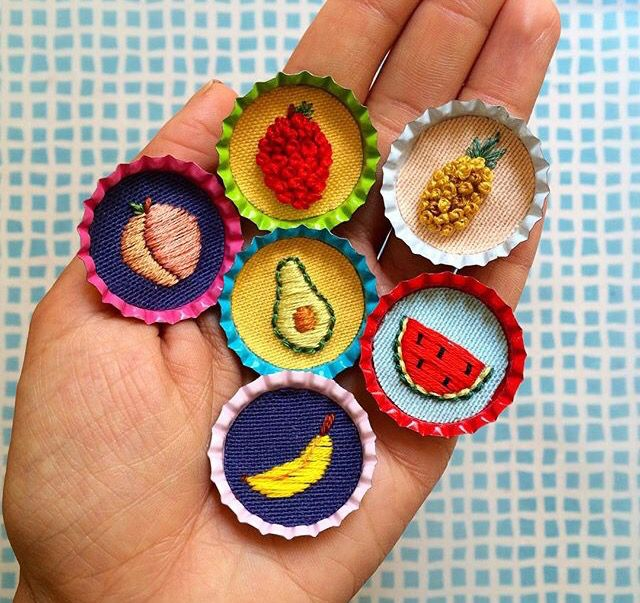 Fruit embroidery mini detail