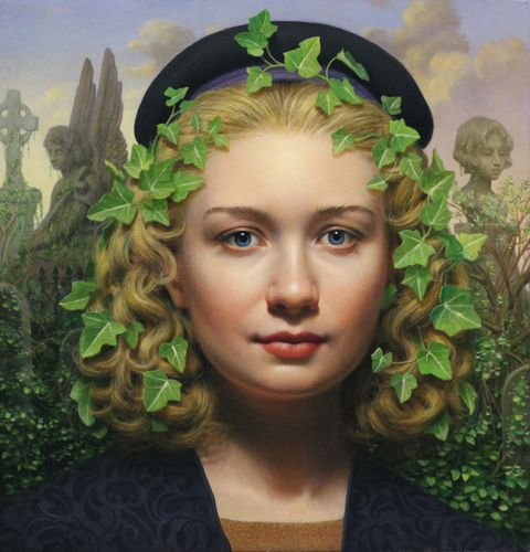 """Ivy"" - Will Wilson {contemporary figurative realism art pretty female blonde-hair woman portrait oil painting artwork}"