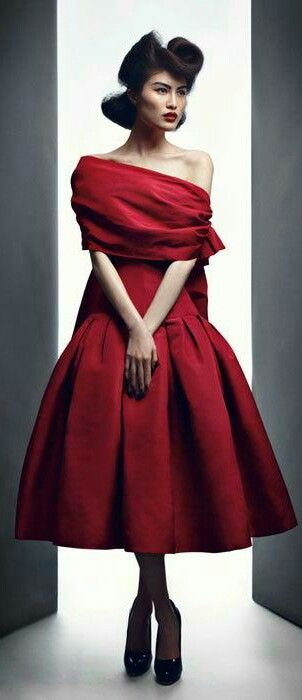 "Christian Dior Haute Couture. Why don't they say, ""Everyone needs a little red dress.""?  (I agree.)"