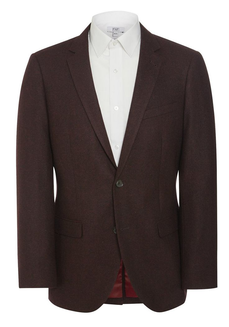 <li>This smart blazer from F&F's Autumn/Winter collection is ideal for smartening up a casual look. Offering a dapper finish, this blazer comes in a textured design with a notch lapel, twin flap pockets on the front and a single vent on the back. Finished  with a fine stripe print lining. </li><li>Button-through fastenings</li><li>This garment has a tailored cut for a contemporary silhouette.</li>