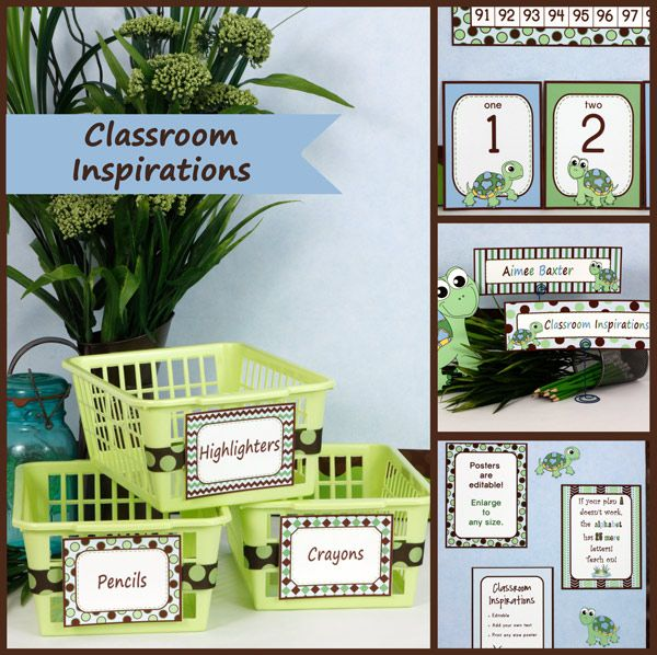 Turtle Time Classroom Theme is adorable! Many of the items have several different patterns that all incorporate sky blue, green and brown for you to choose from. Everything you need is available and it will all match to perfection!  $ ClassroomInspirations.com