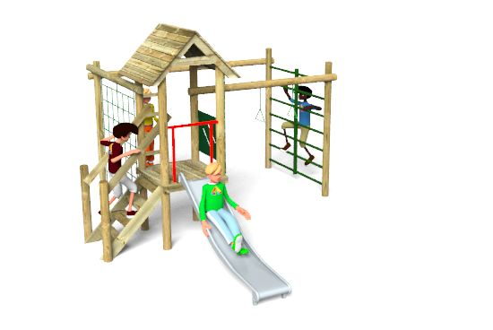 Carleton 5 Climbing Frame Playground Equipment is fitted with a timber roof and platform, a slide, climbing net, rope ladder, climbing rope, climbing bars, trapeze rings and safety barriers. http://www.actionplayandleisure.co.uk/carleton-5/