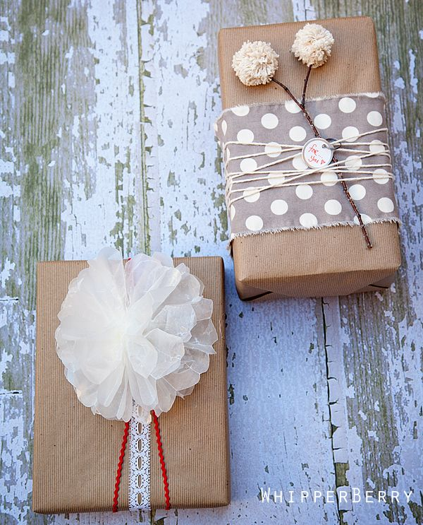 Wax Paper Bow and Pom Flower Wrapping from Whipperberry