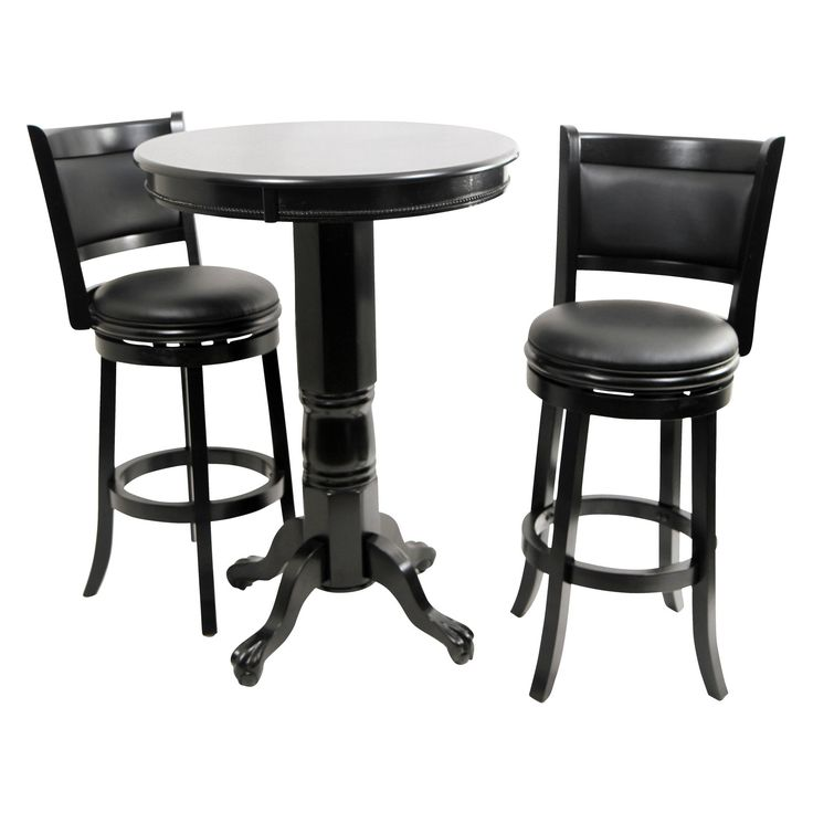 Boraam Augusta 3 Piece Pub Table Set - Black Sandthru - BOR128