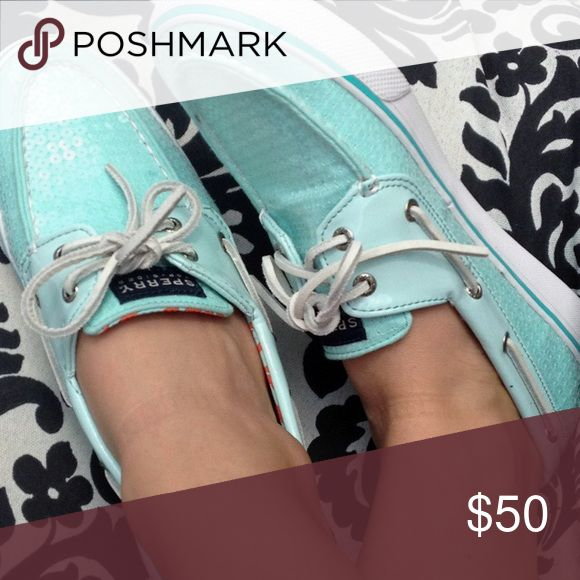 Tiffany blue sequin Sperry top sider boat shoes! GORGEOUS sequin Tiffany blue boat shoes by Sperry Top sider! They are a size 6.5 and are in great, gently worn condition! Sold out and very rare! Sperry Shoes