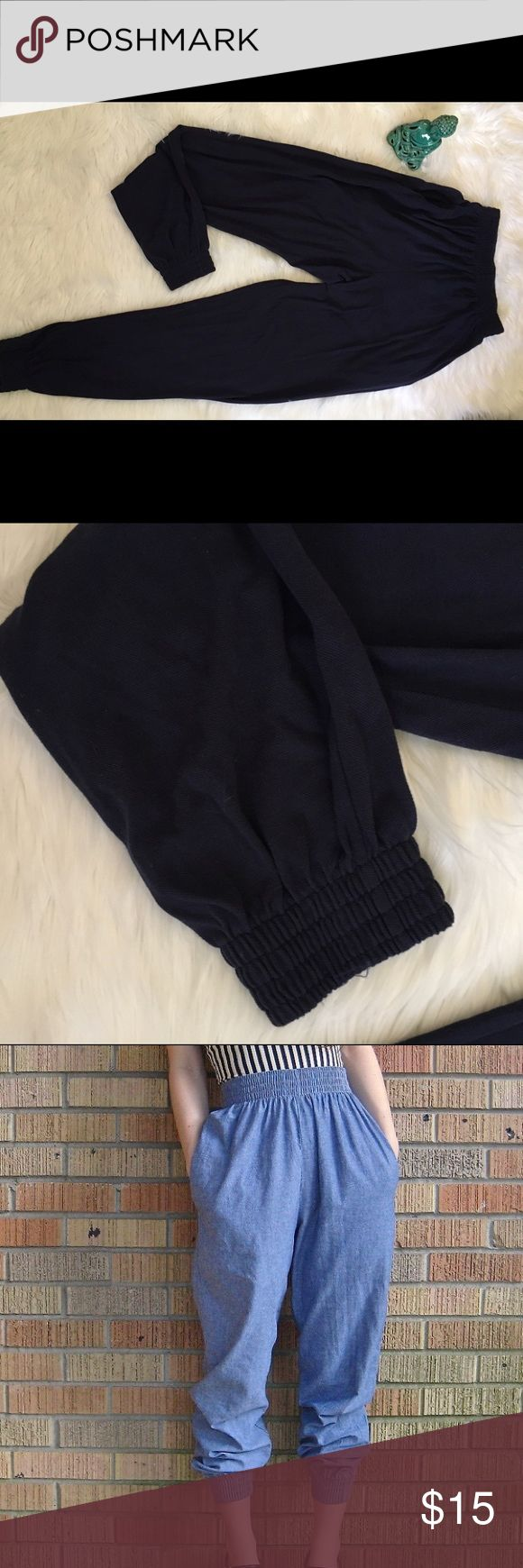 Navy Blue American Apparel Harem Pants in size M. Harem pants with elastication at waist and hems. American Apparel Pants
