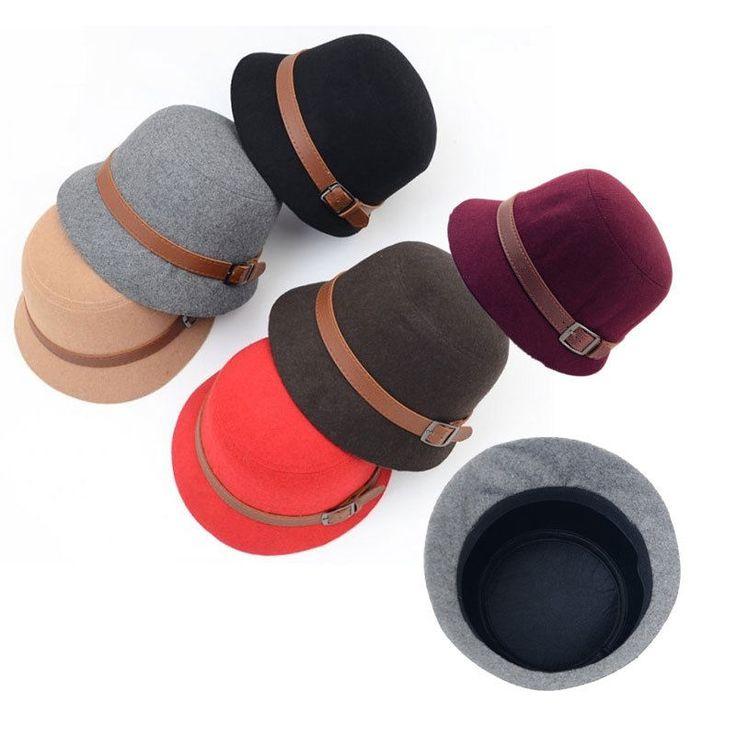 Vintage New Women Ladies Fedora Wool Felt Wide Brim Bowler Hat Bucket Cap $6.00