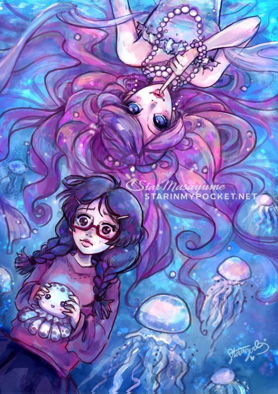 I love Tsukimi and Kuranosuke from Princess Jellyfish ! ❤ I want to float in an imaginary sea of jellyfish too... Available as 11x17 or 8x10 Glossy Prints. StarInMyPocket.net   StarMasayume.deviantart.com