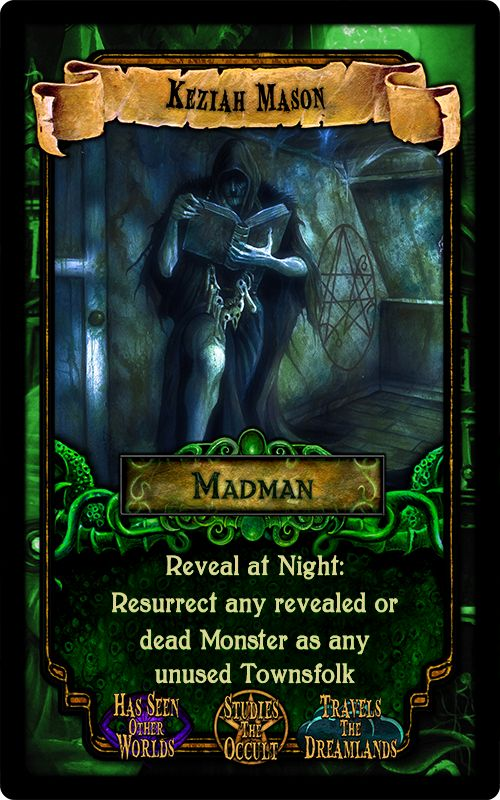 """Keziah Mason - from the party game """"Arkham Nights"""" by Dann Kriss Games, with art by Ian Daniels © 2015"""
