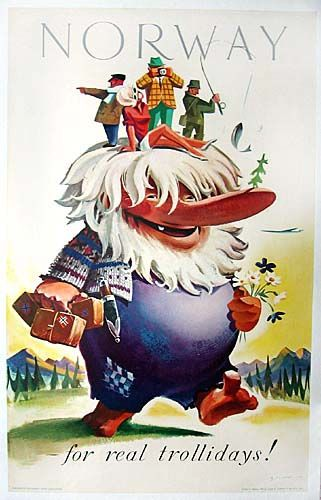 Norway vintage travel poster ~ 'Norway - for real trollidays'