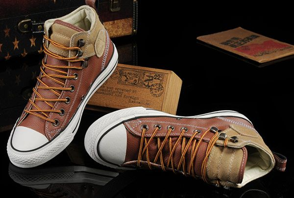 6fb5363311cf Converse Brown Leather Suede Padded Collar High Tops Chuck Taylor All Star  Shoes