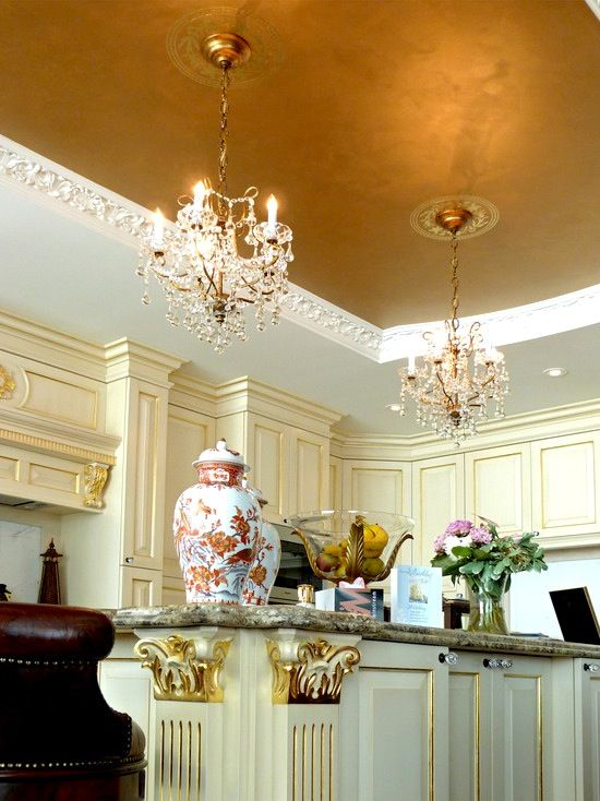 Kitchen Design Ideas | Gold Leaf | Metallic Silver | Transitional Home | Traditional Interior