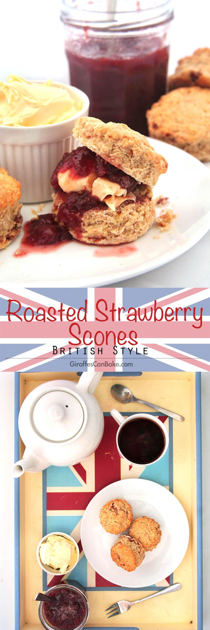 Roasted Strawberry British Scones by Giraffes Can Bake - short, crumbly scones with roasted strawberries baked right in. So easy and quick to make, you can't go wrong. Serve with jam, clotted cream and a cup of tea for your very own homemade Devonshire or Cornish Cream Tea